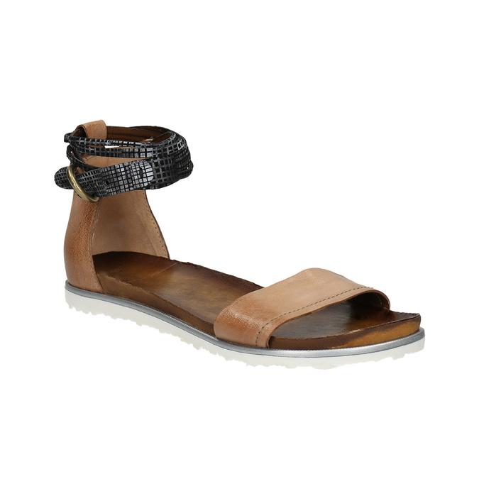 Dámské sandály s kontrastním páskem bata, hnědá, 566-3603 - 13