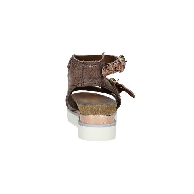 Dámské sandály na výrazné podešvi bata, hnědá, 666-4604 - 17