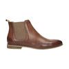 Kožené kotníčkové Chelsea Boots s perforací bata, hnědá, 596-4644 - 15