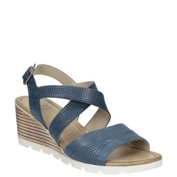 Kožené sandály na klínku bata, modrá, 666-9606 - 13