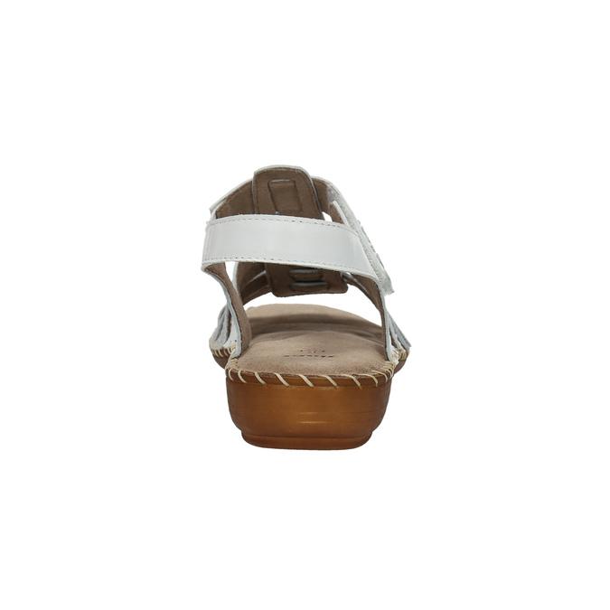 Kožené sandály šíře H bata, bílá, 566-1604 - 17