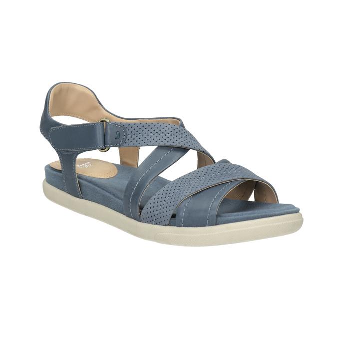 Modré kožené sandály bata-light, modrá, 566-9609 - 13