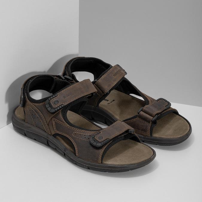 Hnědé pánské sandály z broušené kůže weinbrenner, 866-4631 - 26