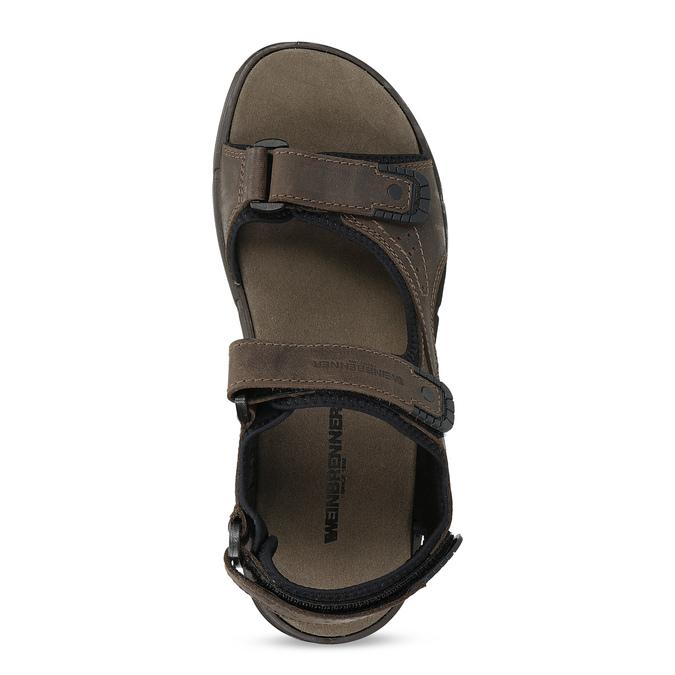 Hnědé pánské sandály z broušené kůže weinbrenner, 866-4631 - 17