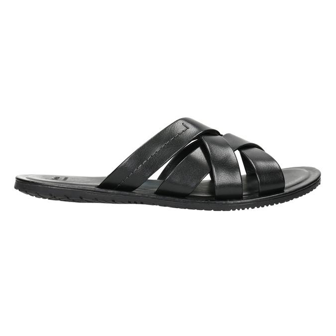 Pánské kožené nazouváky černé bata, 2021-864-6601 - 15