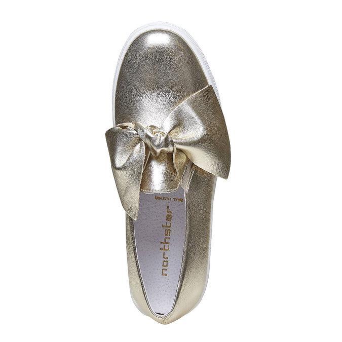 Zlatá kožená Slip-on obuv s mašlí north-star, zlatá, 514-8264 - 19