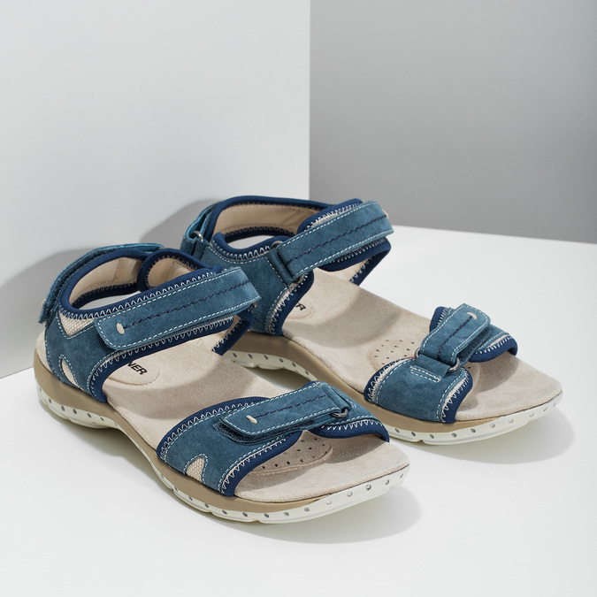 Kožené sandály v Outdoor stylu weinbrenner, modrá, 566-9608 - 26