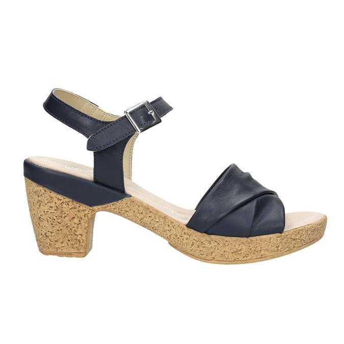 Kožené sandály na nízkém podpatku bata-touch-me, modrá, 666-9203 - 15