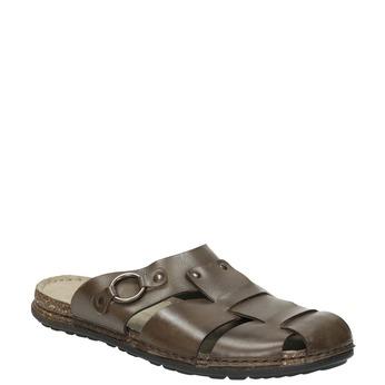 Kožené nazouváky s kovovou sponou bata, hnědá, 866-4625 - 13