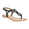 Dámské kožené sandály s propletením bata, černá, 566-6621 - 13