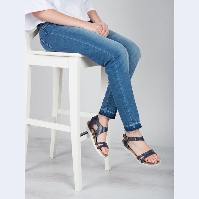 Kožené sandály na výrazné podešvi bata, modrá, 566-9606 - 18