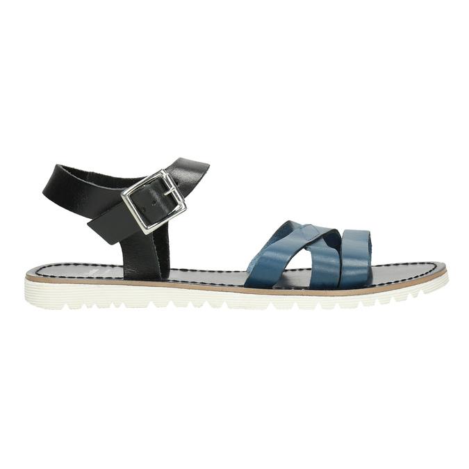 Kožené sandály s modrými pásky bata, modrá, 566-9615 - 15