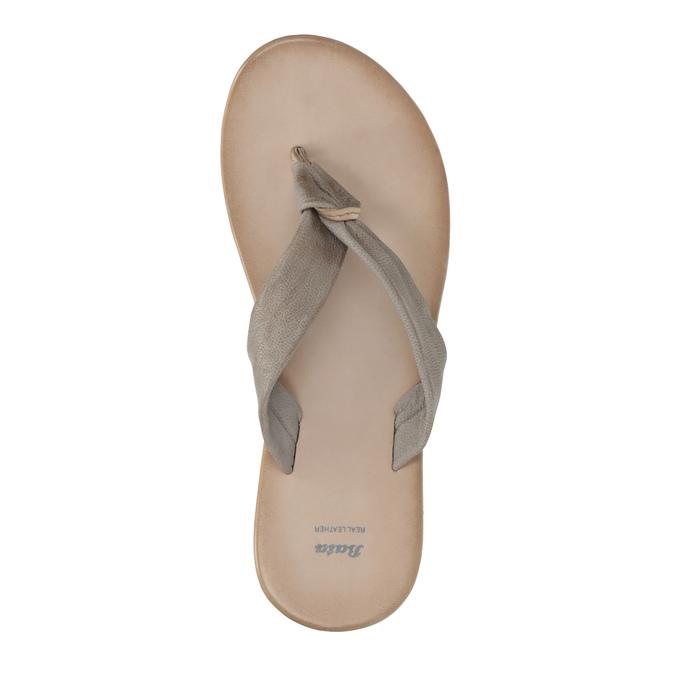Dámské kožené žabky bata, šedá, 566-2607 - 19