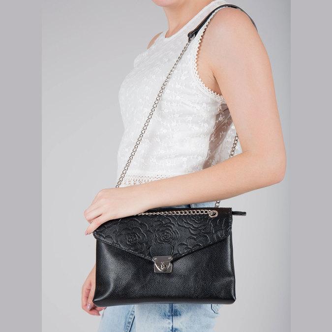 Menší černá kabelka s klopu bata, černá, 961-6731 - 17