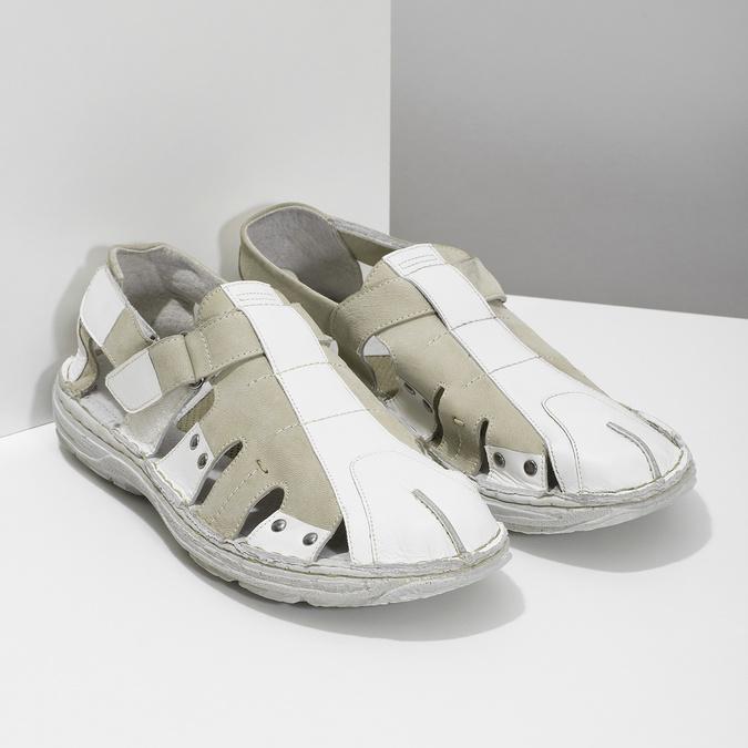 Pánské kožené sandály světlé bata, bílá, 866-1622 - 26