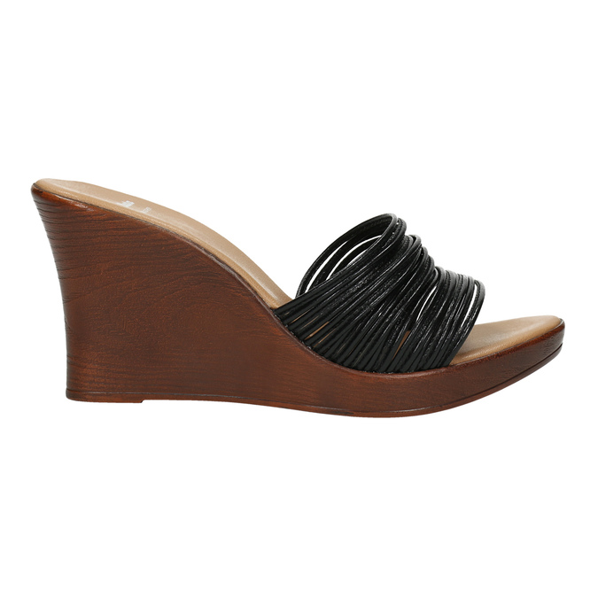 Dámské kožené nazouváky bata, černá, 766-6603 - 15