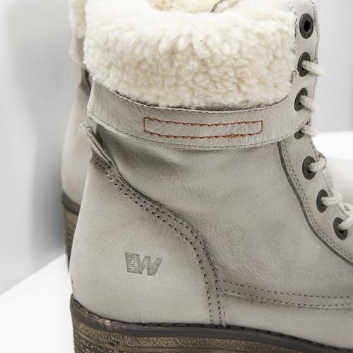 Kožená zimní obuv s kožíškem bata, béžová, 696-3336 - 16