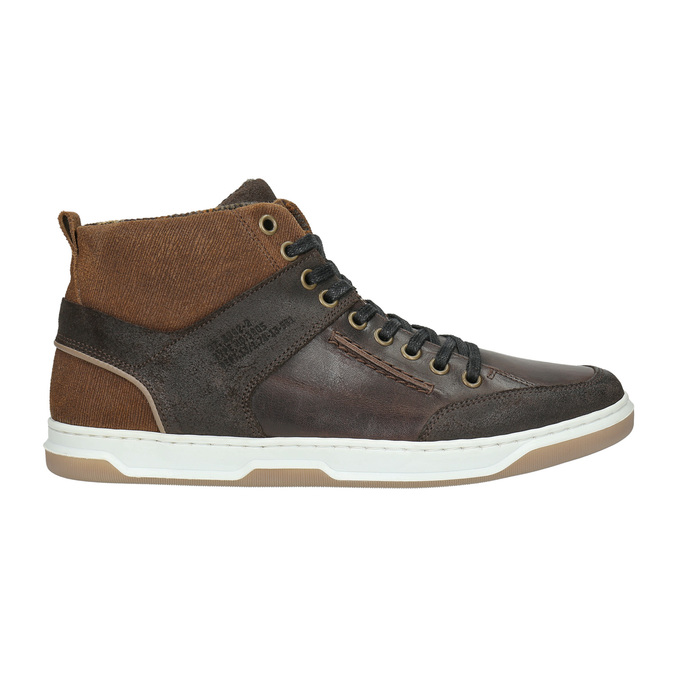Kožené kotníčkové tenisky bata, hnědá, 846-4640 - 15