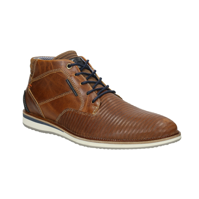 Ležérní kotníčková obuv z kůže bata, hnědá, 826-3912 - 13