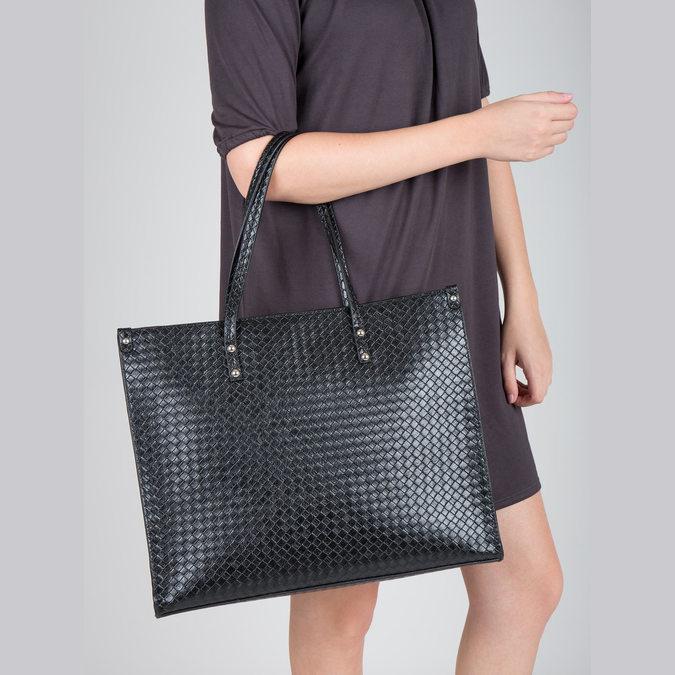 Kabelka s pleteným vzorem bata, černá, 961-6540 - 18