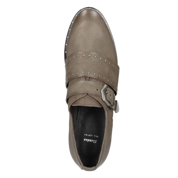 Dámské kožené polobotky bata, hnědá, 516-2612 - 15