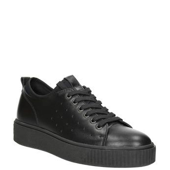 Dámské kožené tenisky s perforací bata, černá, 526-6645 - 13