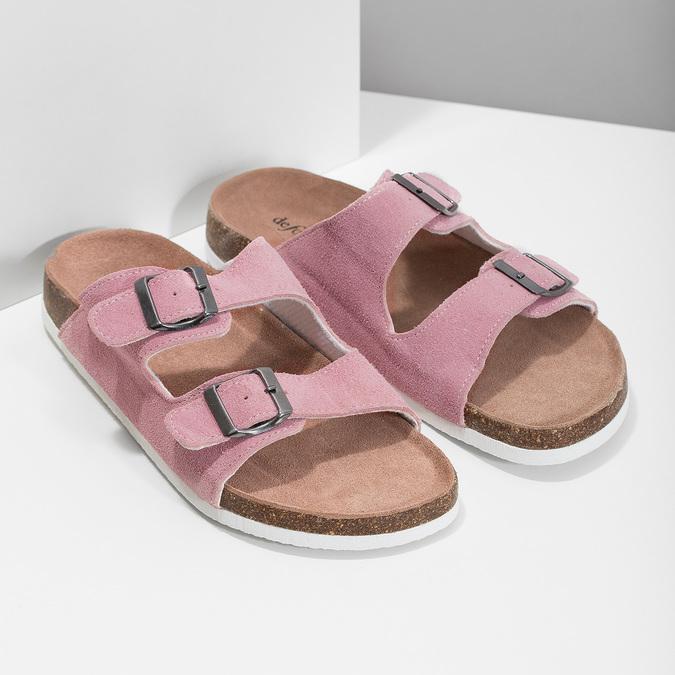 Kožená domácí obuv dámská de-fonseca, růžová, 573-5621 - 26