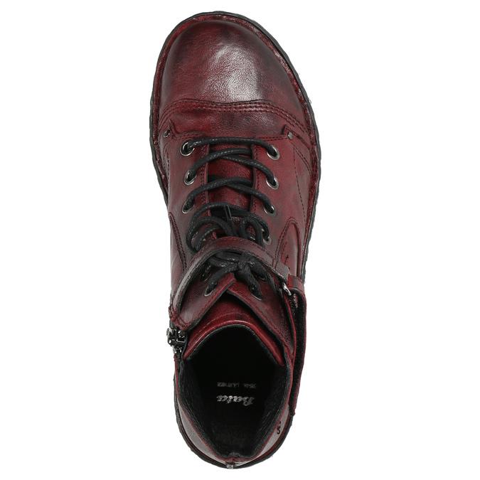 Dámská kožená kotníčková obuv bata, červená, 596-5656 - 26