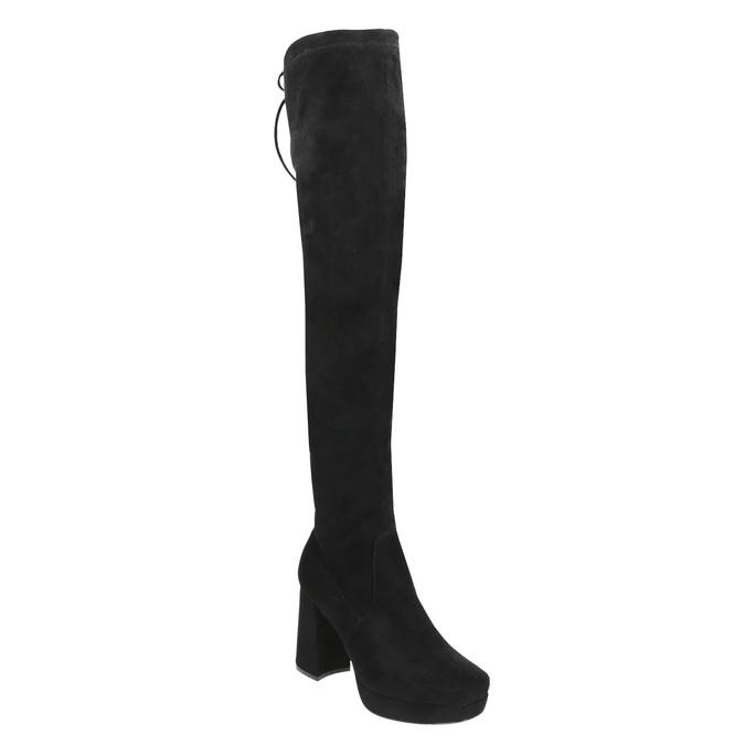 Černé dámské kozačky nad kolena bata, černá, 799-6663 - 13