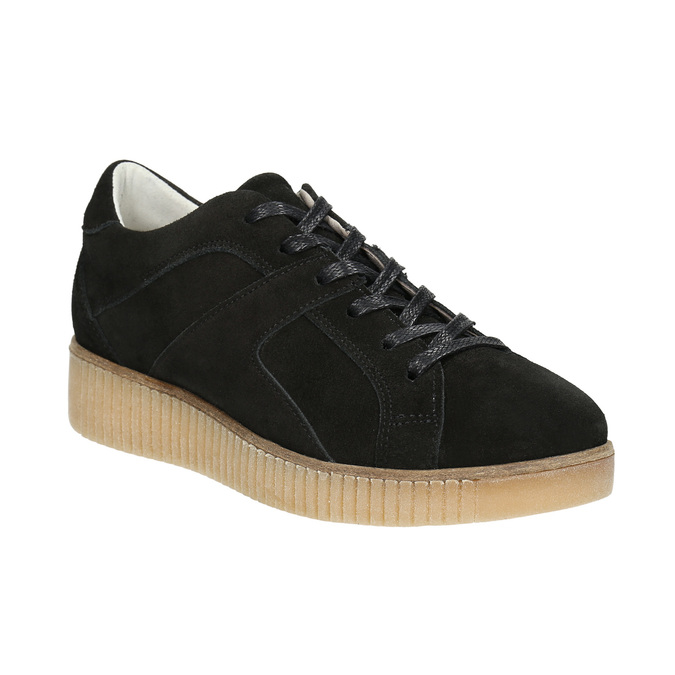 Kožené tenisky na výrazné flatformě bata, černá, 523-6604 - 13