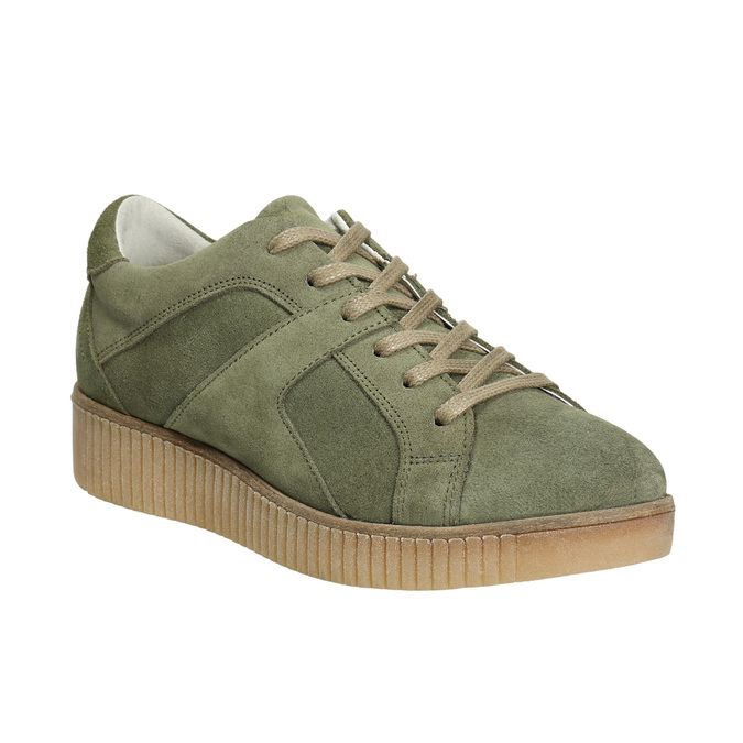 Dámské kožené khaki tenisky bata, zelená, 523-7604 - 13