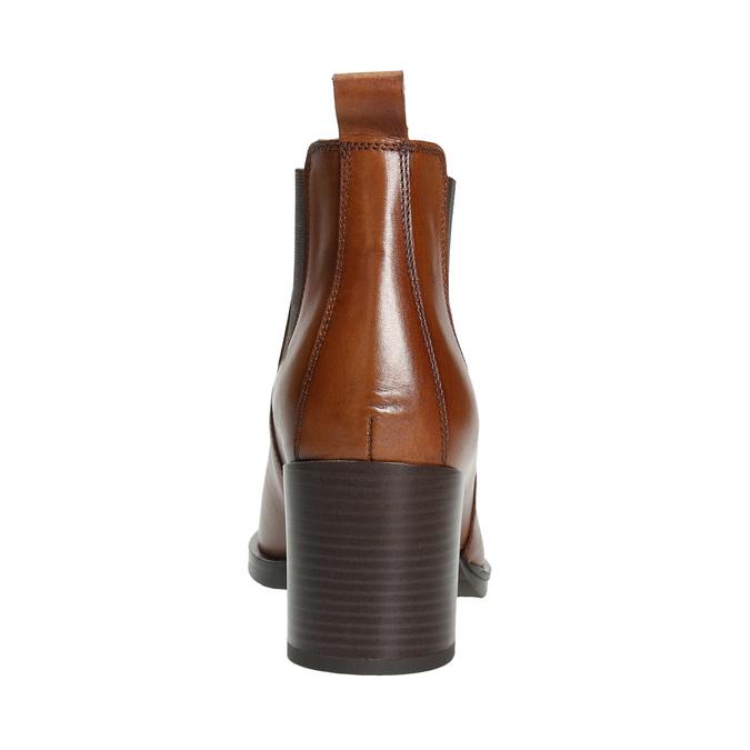 Kotníčková kožená obuv na podpatku bata, hnědá, 694-4641 - 17