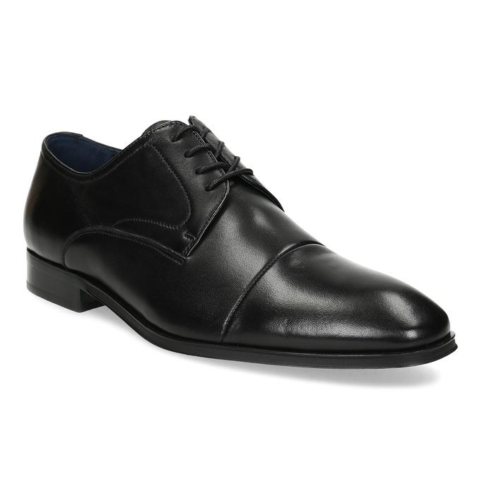 Pánské kožené černé Derby polobotky bata, černá, 824-6406 - 13
