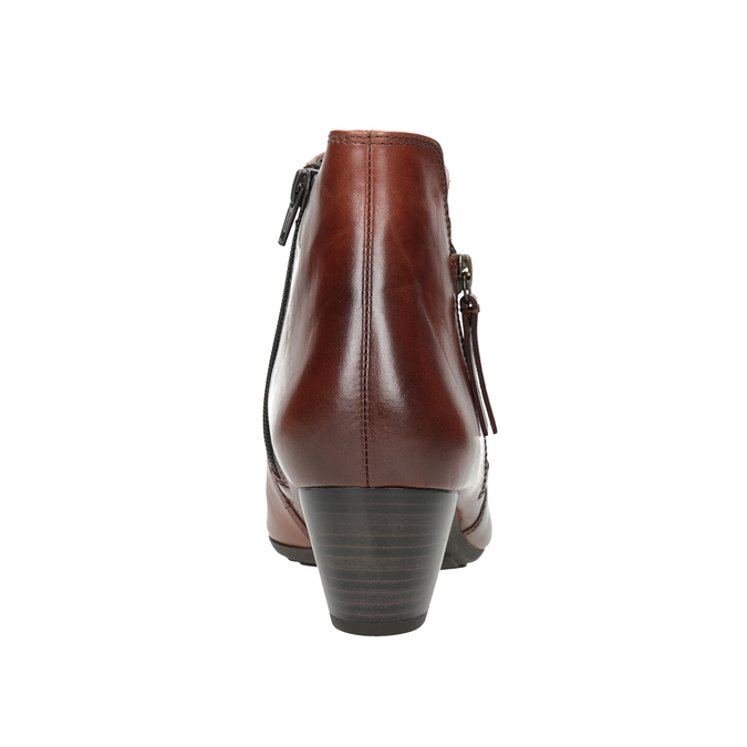 Kožená kotníčková obuv na nízkém podpatku gabor, hnědá, 616-3112 - 16