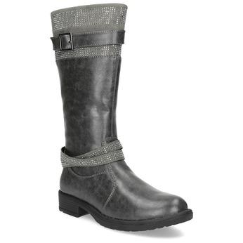 Dívčí kozačky s kamínky mini-b, šedá, 391-2655 - 13