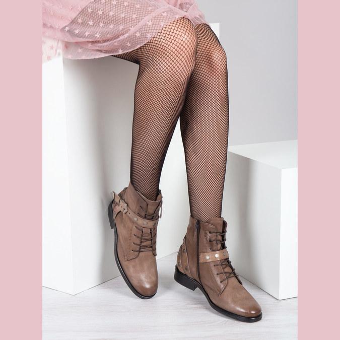 Kotníčková dámská obuv s přezkami bata, hnědá, 596-4661 - 18
