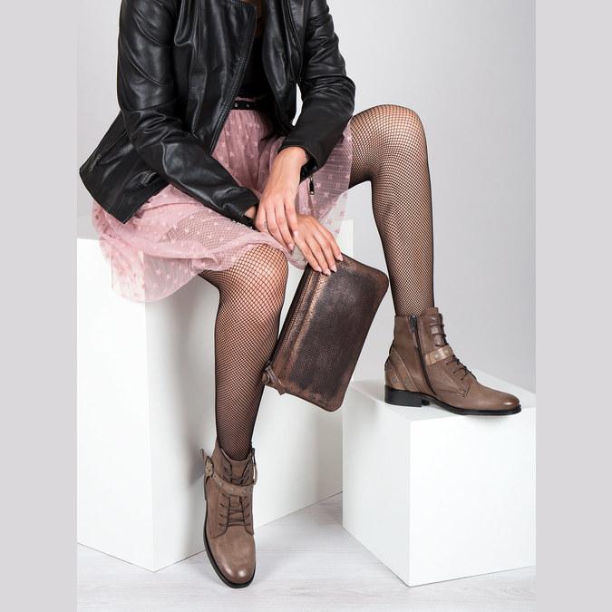 Kotníčková dámská obuv s přezkami bata, hnědá, 596-4661 - 19