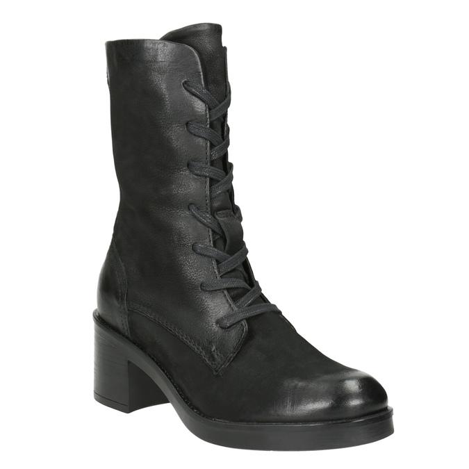 Černé kožené kozačky bata, černá, 696-6646 - 13