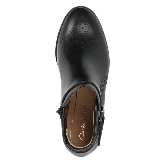 Kožená kotníčková obuv se zdobením clarks, černá, 614-6027 - 15