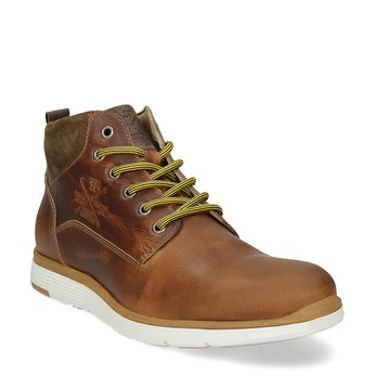 Hnědá kožená pánská kotníčková obuv bata, hnědá, 846-3645 - 13