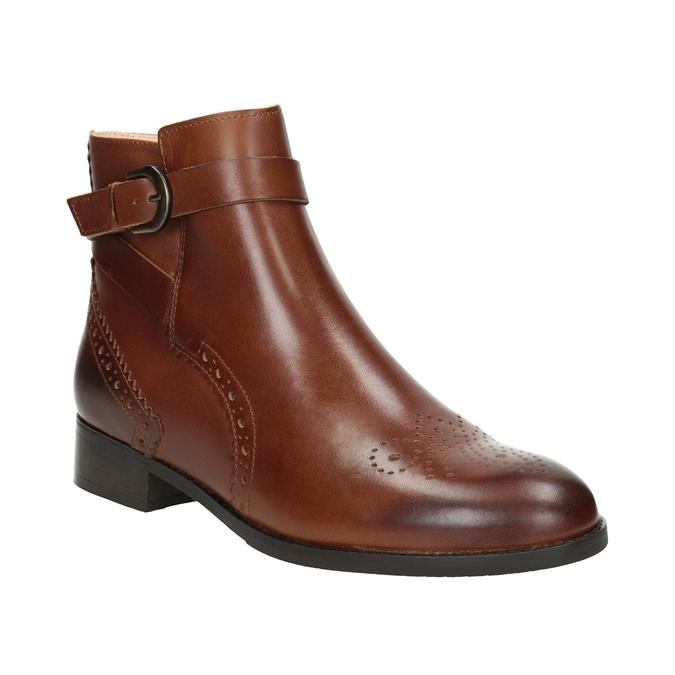 Kožená kotníčková obuv se zdobením clarks, hnědá, 616-3026 - 13