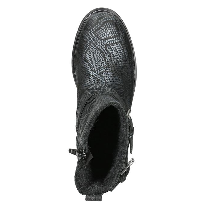 Kožená kotníčková obuv dětská bullboxer, černá, modrá, 496-9015 - 15