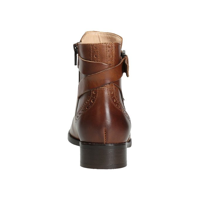 Kožená kotníčková obuv se zdobením clarks, hnědá, 616-3026 - 16