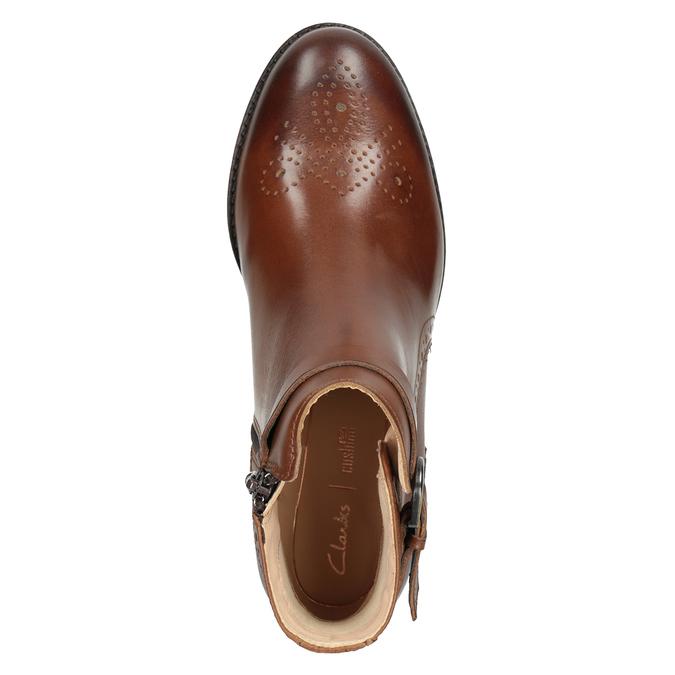 Kožená kotníčková obuv se zdobením clarks, hnědá, 616-3026 - 15