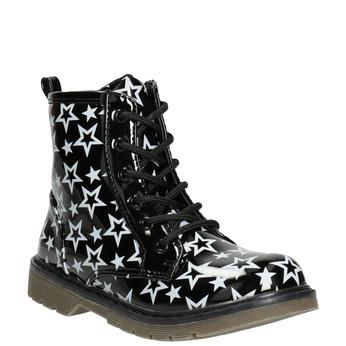 Šněrovací obuv s hvězdičkami mini-b, černá, 291-6167 - 13