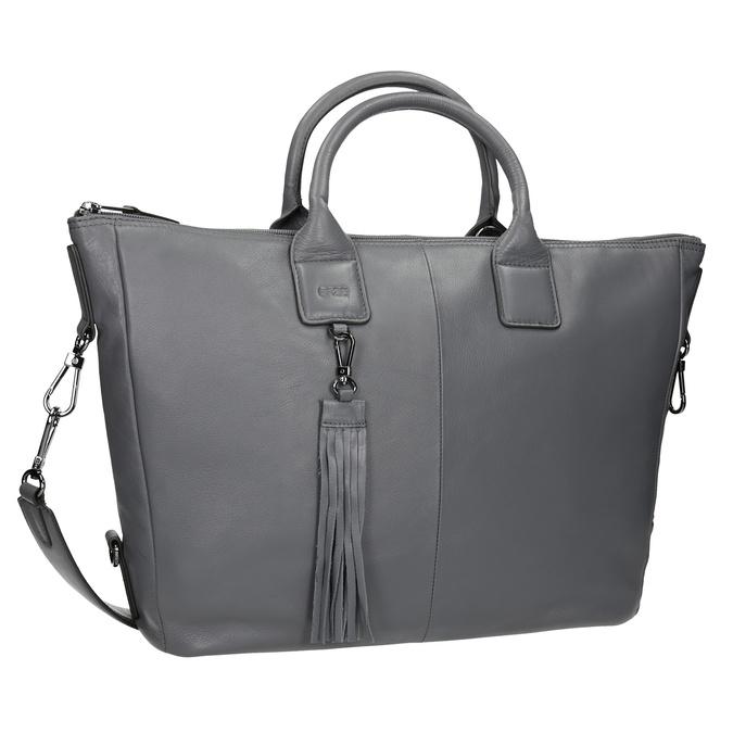 Kožená kabelka se střapcem bree, šedá, 964-2039 - 13