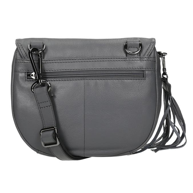 Šedá kožená kabelka se střapcem bree, šedá, 964-4040 - 16
