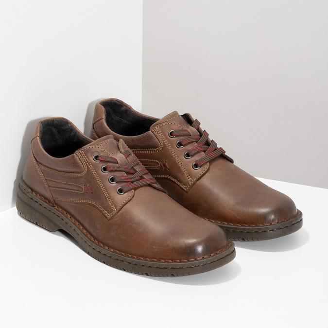 Hnědé kožené ležérní polobotky bata, hnědá, 826-4918 - 26