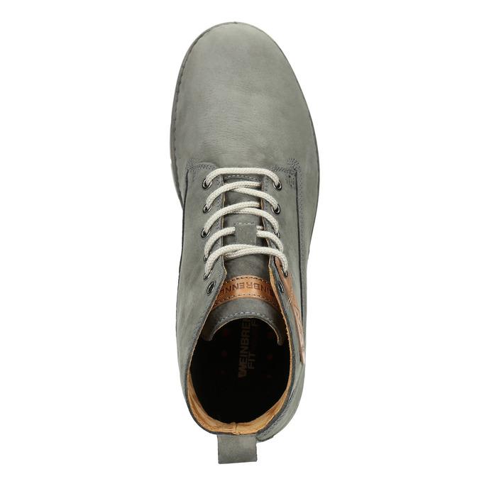 Kožená kotníčková obuv pánská weinbrenner, šedá, 846-2656 - 15