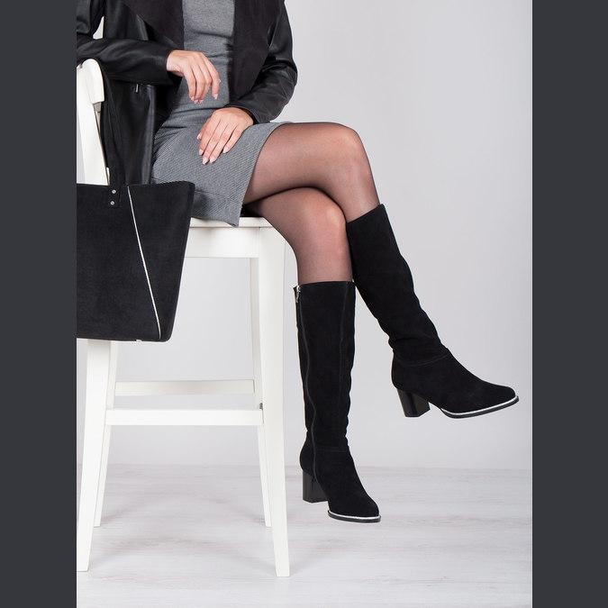 Černé kozačky z broušené kůže bata, černá, 693-6603 - 14